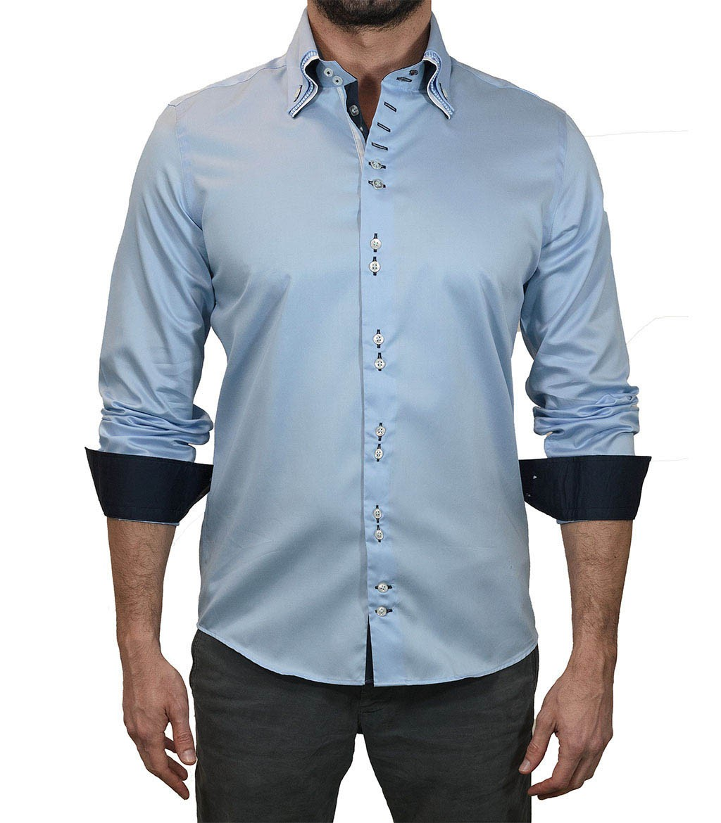 Shirt men long sleeve shirt 2 button slim satin full color for Blue and white long sleeve shirt