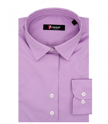 Chemise Femme 2 Boutons Slim Col Italien Popeline Stretch Plaine Lilas