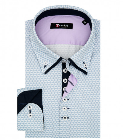 1 Button Button Down Double Collar Man Shirt Popeline Printed Avion and Light Blue