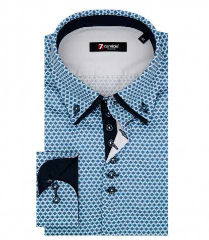 1 Button Button Down Double Collar Man Shirt Printed Popeline Blue / Turquoise