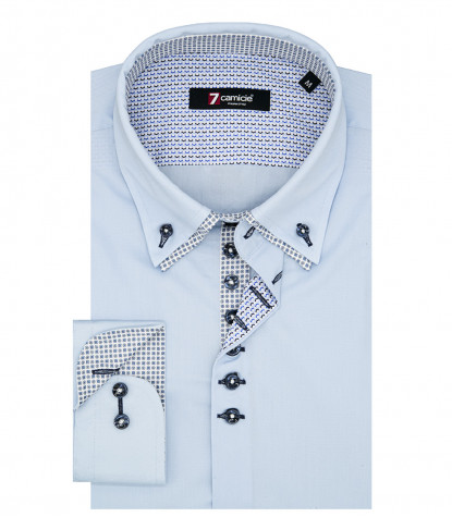 Camicia Uomo 1 Bottone Button Down Doppio Collo Piccolo Slim POPELINE STRETCH UNITO Celeste