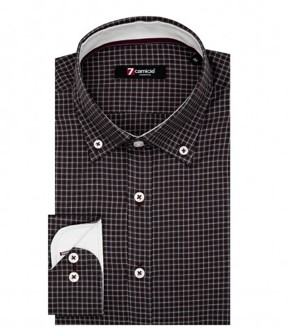 1 Button Button Down Slim Man Shirt Jacquard Pattern Blue\Red