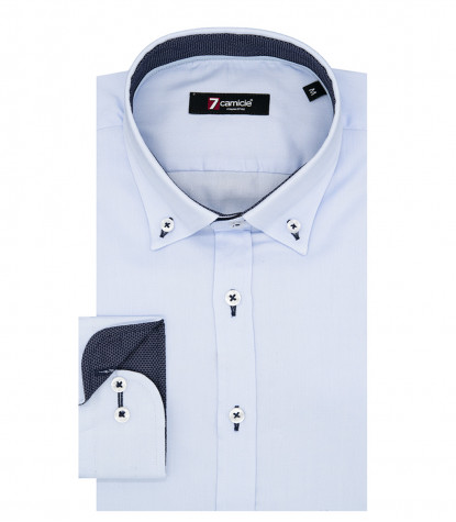 Camicia Uomo 1 Bottone Button Down Slim Oxford unito Celeste