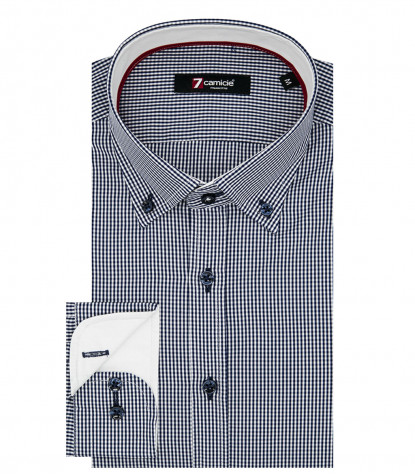 Camicia Uomo 1 Bottone Button Down Slim Popeline Quadro Piccolo Bianco e Blu