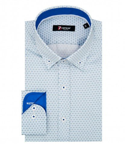 Camicia Uomo 1 Bottone Button Down Slim Popeline Stampato Avion e Celeste