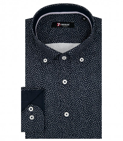 Camicia Uomo 1 Bottone Button Down Slim Popeline Stampato Bluianco