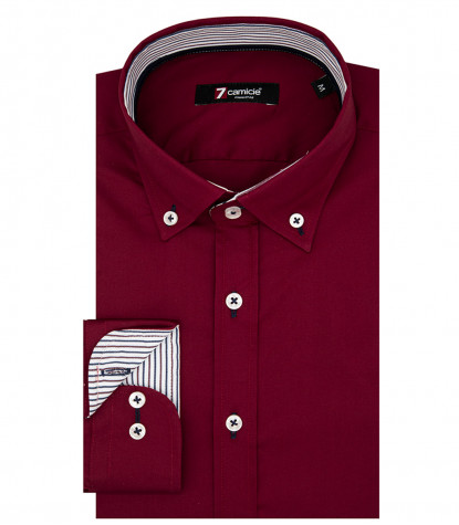 Camicia Uomo 1 Bottone Button Down Slim POPELINE STRETCH UNITO Rosso