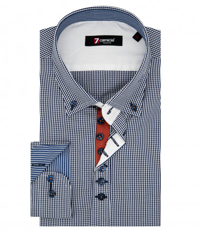Camicia Uomo 1 Bottoni Button Down Slim Popeline Quadro Piccolo Bianco e Blu