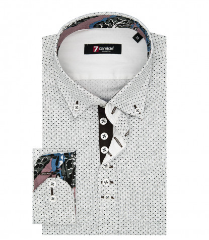 Camicia Uomo 1 Bottoni Button Down Slim Popeline Stampato Bianco e Bordeaux