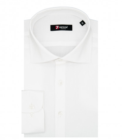 1 Button French Collar Slim Man Shirt Popeline Stretch Plain White