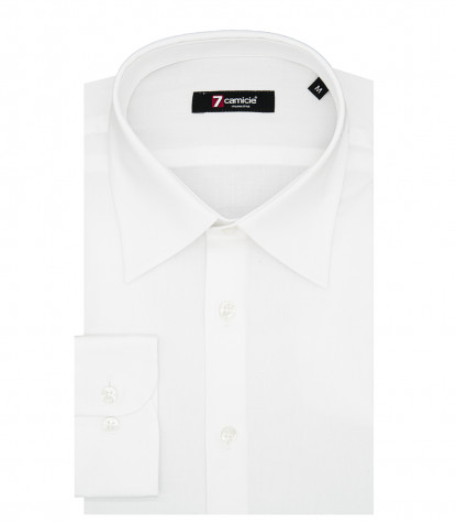 Chemise Homme 1 Bouton Slim Col Italien Popeline Stretch Plaine Blanche