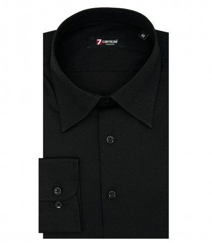 1 Button Italian Collar Man Shirt Slim Fit Popeline Stretch Plain Black
