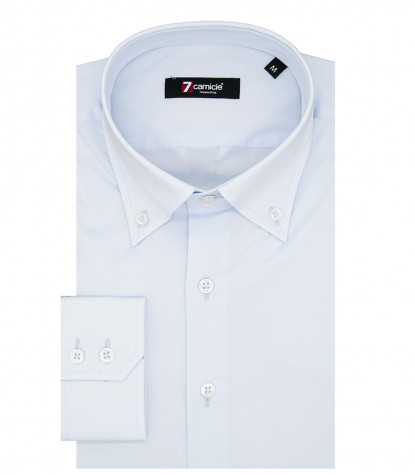 Camicia Uomo 2 Bottoni Button Down Slim POPELINE STRETCH UNITO Celeste
