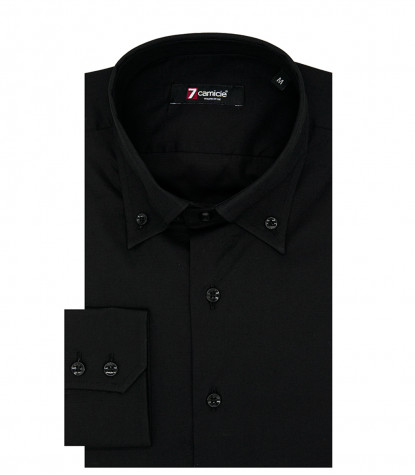 2 Buttons Button Down Slim Man Shirt Popeline Stretch Plain Black