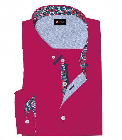 Camicia Uomo Slim 1 Bottone Button Down Doppio Collo POPELINE STRETCH UNITO Fucsia