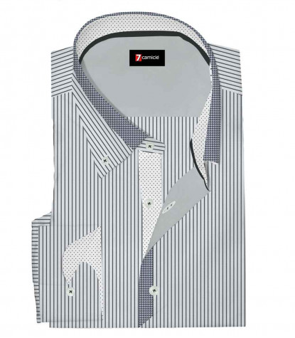 Camicia 1 Bottone Button DownUomo Slim Satin Riga Stretta Bianco/Nero