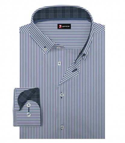 Camicia Uomo 1 Bottone Button Down Slim Oxford Riga Stretta Biancolu Inchiostro