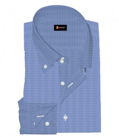 2 Buttons Button Down Slim Man Shirt Solid Barbed Cotton Bluette