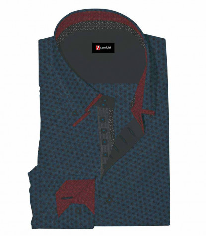 Camicia Uomo 2 Bottoni Button Down 7Bottoni Doppio Collo Slim Jacquard Fantasia Blue Seaport/Nero