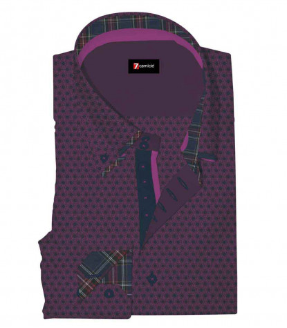 Camicia Uomo 2 Bottoni Button Down 7Bottoni Doppio Collo Slim Jacquard Fantasia Viola Ciclamino/Nero