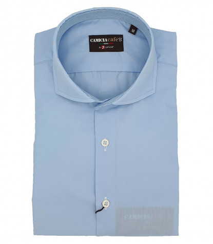 1 Button French Collar Slim Man Shirt Cotton/Polyester Light Blue