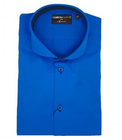 1 Button French Collar Slim Man Shirt Saten Cotton and Polyester Bluette