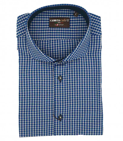 1 Button French Collar Slim Man Shirt Small Square Polyester Cotton