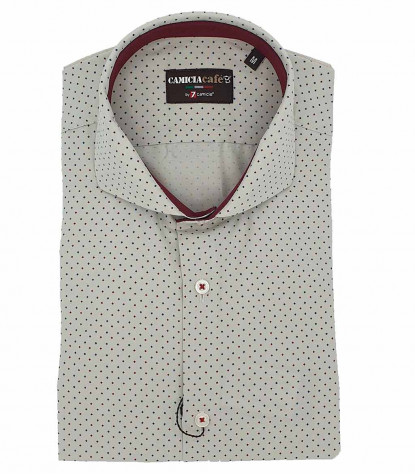 1 Button French Collar Slim Man Shirt Printed Popeline Stretch
