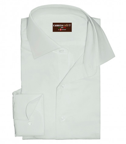1 Button French Collar Slim Man Shirt Cotton/Polyester White