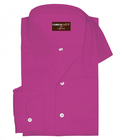 1 Button French Collar Slim Man Shirt Cotton/Polyester Cyclamen Violet