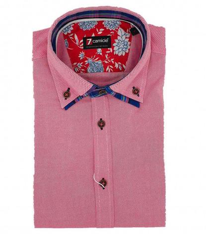 2Buttons Down Double Collar Slim Man Shirt Solid Oxford Light Red