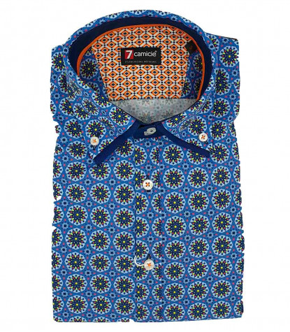 2Buttons Down Double Collar Slim Man Shirt Printed Popeline