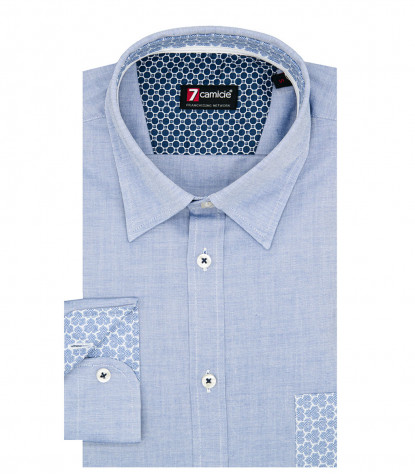 Camicia 1 Bottone Button Down SlimUomo Super Oxford Unito Blu
