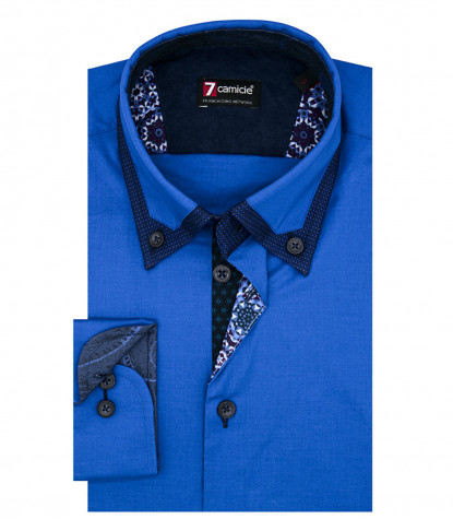 Camicia 1 Bottone Button DownUomo Slim POPELINE STRETCH UNITO Bluette