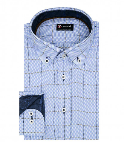 Camicia Uomo 1 Bottone Button Down Slim Armaturato Quadro Grande Celeste Medio/Bianco