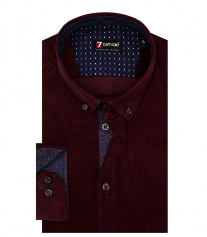 Camicia Uomo 1 Bottone Button Down Slim Velluto Unito Bordeaux