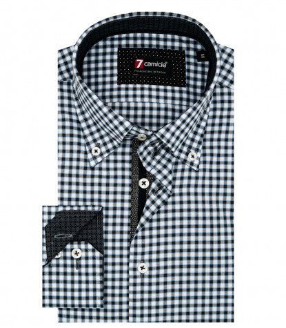 Camicia Uomo 2 Bottoni Button Down Slim Oxford Quadro Piccolo Bianco/Nero