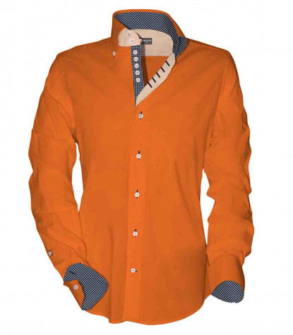 2 buttons button-down 7 buttons kid shirt Popeline Plain Orange