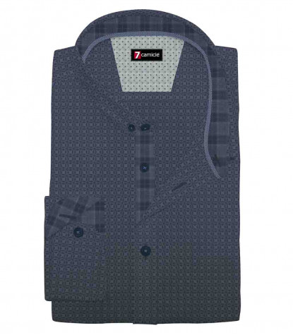 1 Button Button Down Slim Man Shirt Printed Super Oxford Blue Avionlue