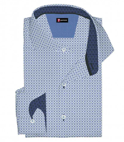 1 Button French Collar Slim Man Shirt Printed Popeline Whitelue