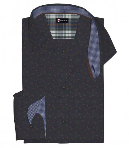 1 Button French Collar Slim Man Shirt Printed Super Oxford