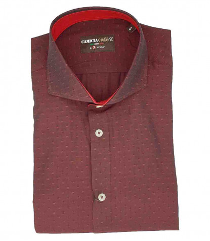 1 Button French Collar Slim Man Shirt Cotton/Polyester Bordeaux