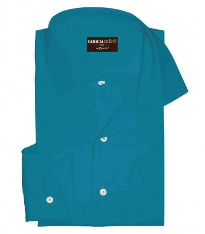 1 Button French Collar Slim Man Shirt Cotton/Polyester Turquoise