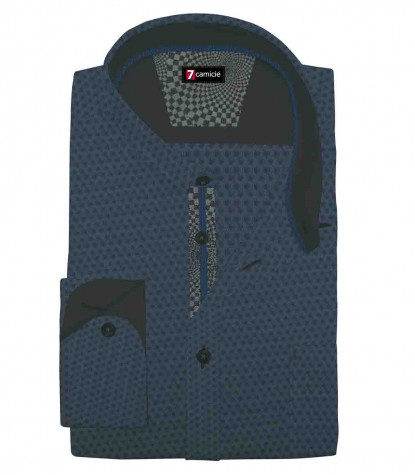 1 Button Italian Collar Slim Man Shirt Fancy Jacquard Seaport Blue/Black