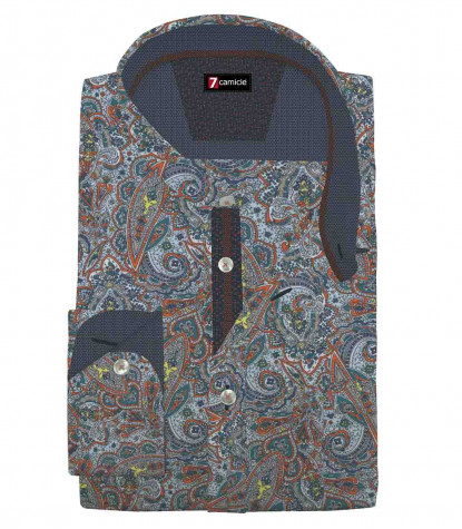 1 Button Italian Collar Slim Man Shirt Printed Popeline