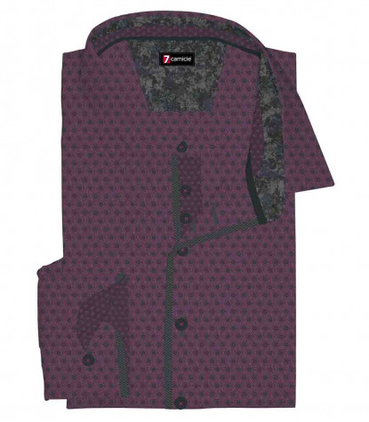 1 Button Italian Collar Slim Man Shirt Fancy Jacquard