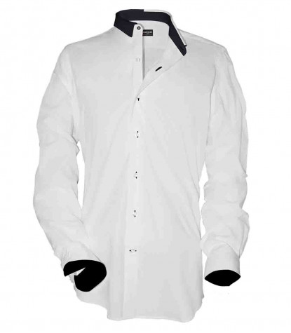 1 Button Italian Collar Man Shirt Slim Popeline Stretch Plain White