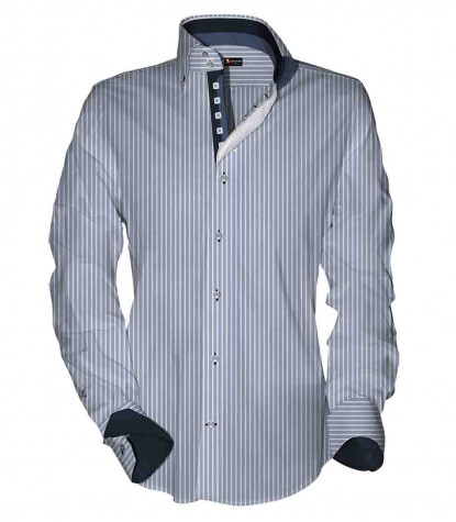 2 buttons button-down slim man shirt Medium Stripe Popeline