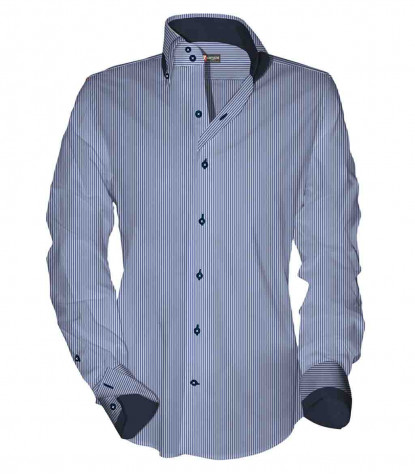 Camicia Uomo 2 Bottoni Button Down Slim Armaturato Riga Stretta Bluianco