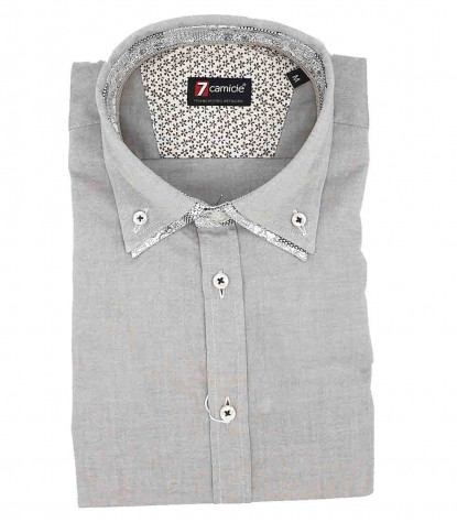 Camicia Uomo 2Bottoni Button Down Doppio Collo Slim Oxford unito Marrone Tortora